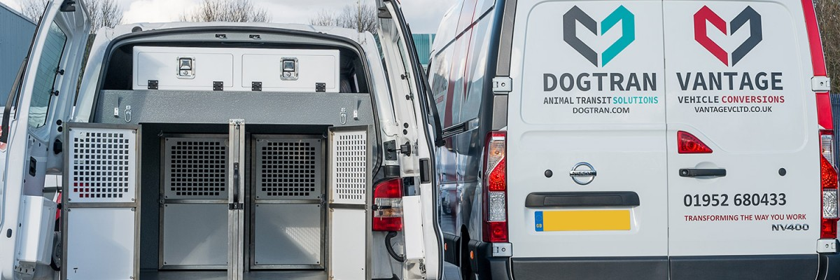 Vantage Vehicle Conversions, 20 years experience delivering dog van conversions including the design & fit of dog cages, for the safe transit of animals.